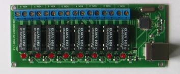 Vitaprom  Eight-ports digital output USB HID board with relay-controlled output.