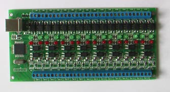 Vitaprom  Sixteen ports USB HID 16 board with optically code disjoint circuit ins and outs.